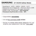 Samsung Galaxy Nexus disponibile a 299€ nel sito online di MediaWorld